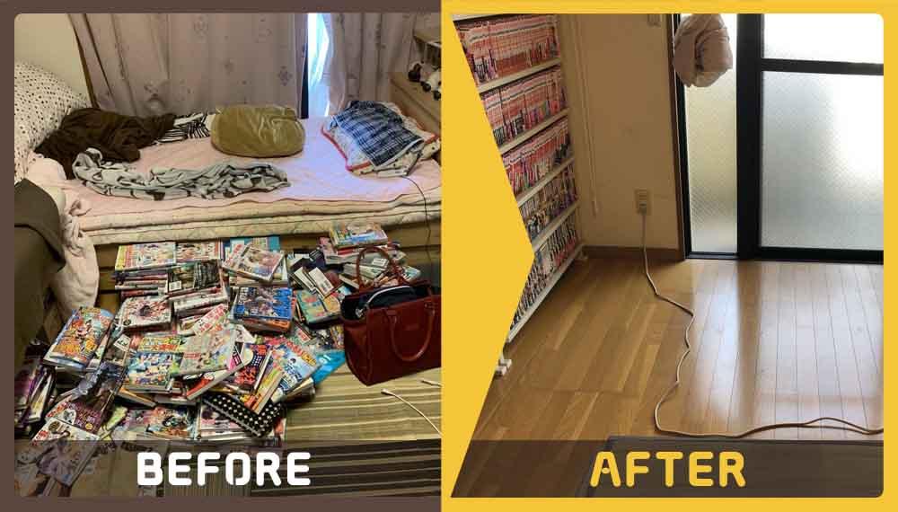 マンションのお部屋の片付けで「片付けが進まず、部屋が散らかってて…」とお部屋の整理整頓と不用品処分(ダンボール、衣類、ベッド、エステ台、椅子、細々した物など)、清掃のご依頼をいただきました。