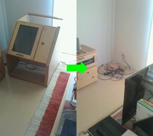 周南市でテレビ台回収の写真